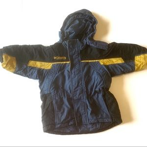 Columbia snow ski hooded jacket blue yellow black